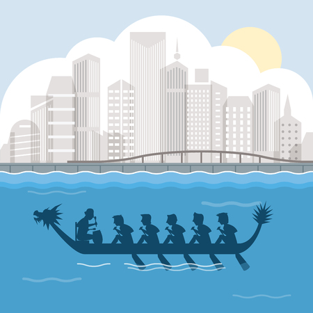 Dragon boat and harbour view vector illustration