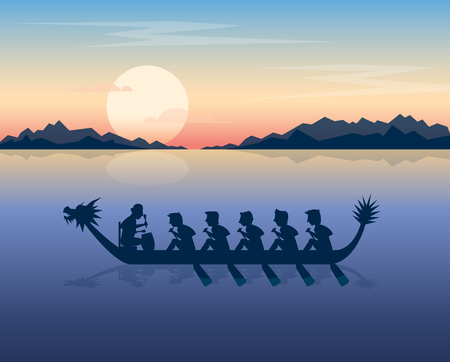 Dragon boat on the sunset sea vector illustration Ilustrace