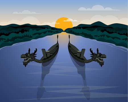 A pair of dragon boats and natural scene background illustration
