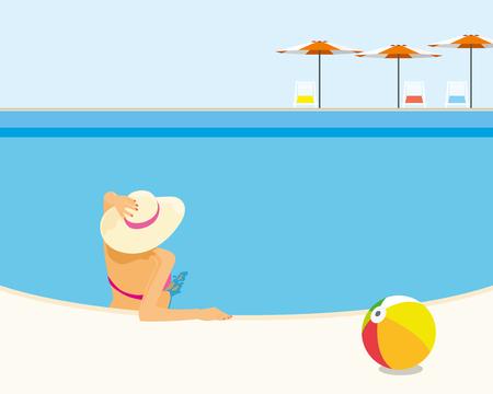 Woman relaxing in the resort swimming pool enjoy the sun bath 일러스트