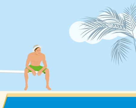Man sitting on springboard at the resort swimming pool