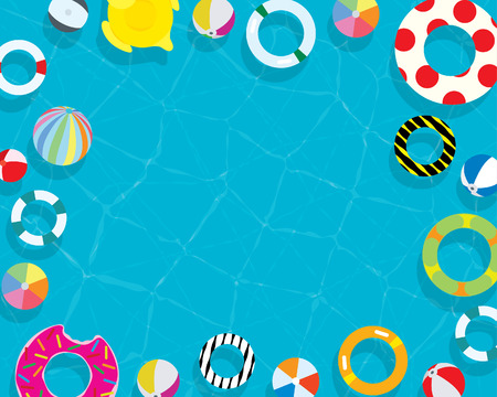 Inflatable ring and mattress summer swimming pool holiday vacation background from above high view Illustration