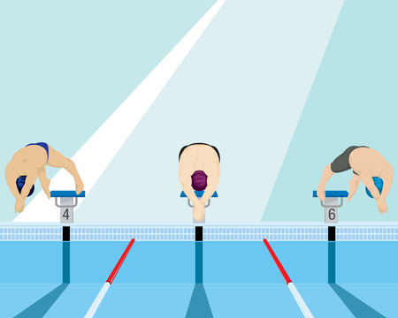 Swimmers jumping off the starting block in swimming pool