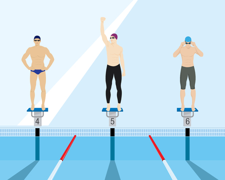 Swimmers standing on starting block in a swimming pool 일러스트