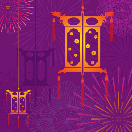 Mid Autumn festival lantern in firework background design illustration