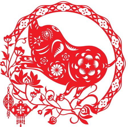 Chinese year of Lucky pig illustration in paper cut style