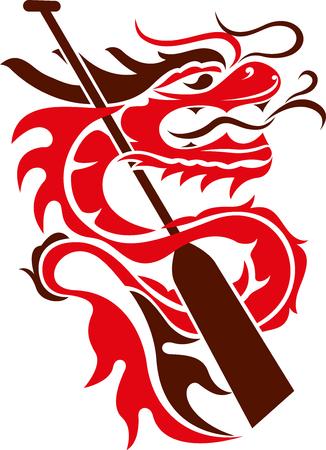 Boat paddle and dragon   illustration 일러스트