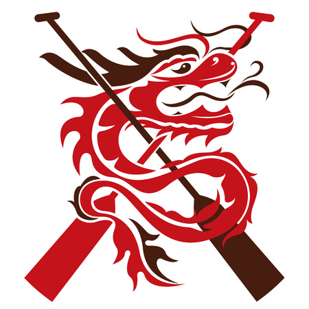 Boat paddles and dragon   illustration