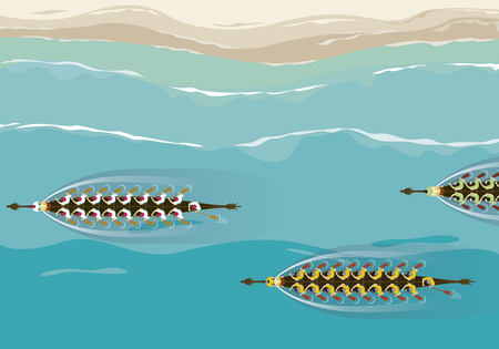 Aerial view of dragon boat team competition design illustration