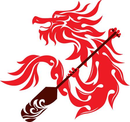 Boat paddle and dragon illustration