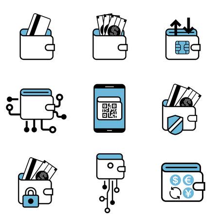 Digital Wallet payment exchange vector icon set