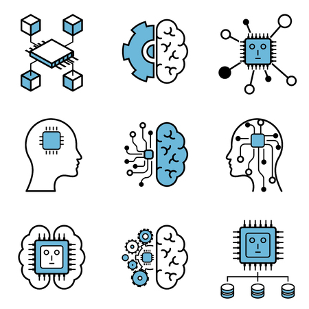 Computer learning & brain vector icon set