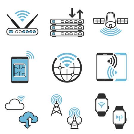 Wireless networking technology vector icon set 일러스트