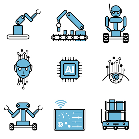 AI automated robot system icon 일러스트