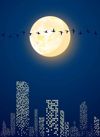Illustration of city with  full moon and migratory birds