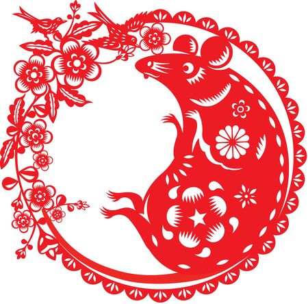 Chinese year of rat in paper cut style