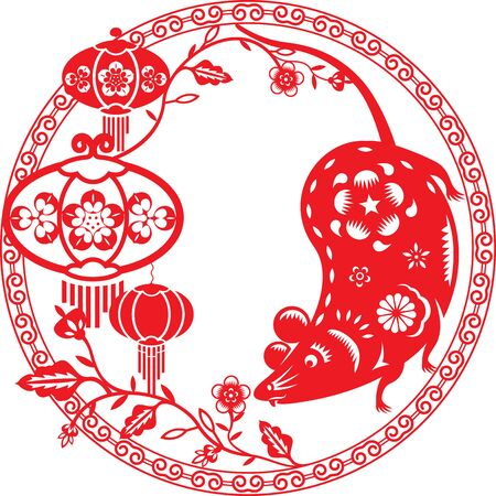 Chinese year of mouse rat illustration in paper cut style