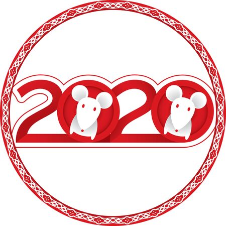 Year of the Rat - Chinese New Year 2020 in paper cut style 일러스트