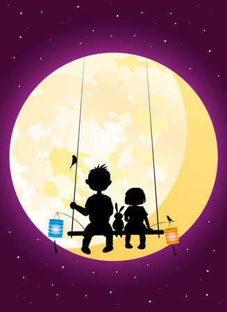 Kids sitting under moonlight vector silhouette illustration celebrating the Mid-Autumn festival