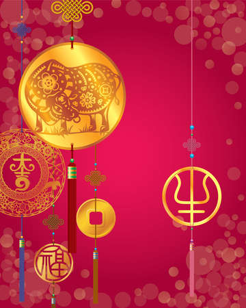 Year of the ox with abstract art ox zodiac graphic vector illustration on red background