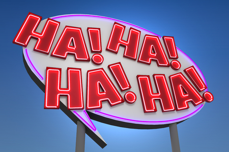ha: HA! HA! HA! HA! Comic Book Sound Effect Neon Sign Stock Photo