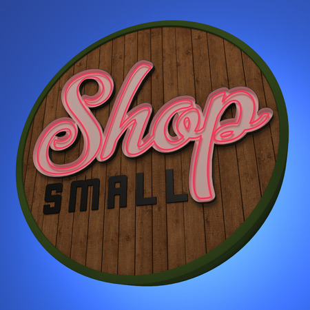 shop sign: Shop Small Neon Sign
