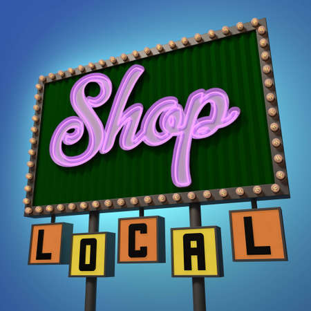 shop sign: Shop Local Neon Sign