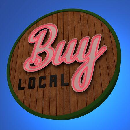 Buy Local Neon Sign Фото со стока
