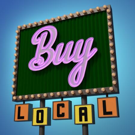 Buy Local Neon Sign Reklamní fotografie
