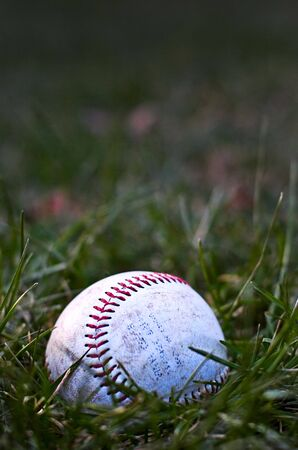 An abandoned baseball sits in the field, forgotten and alone as the evening draws near.