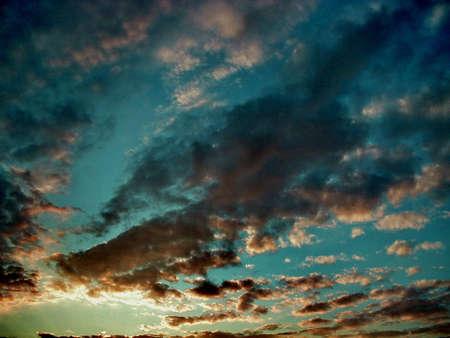 Orange And Blue Sunset Sky,abstract photo Reklamní fotografie