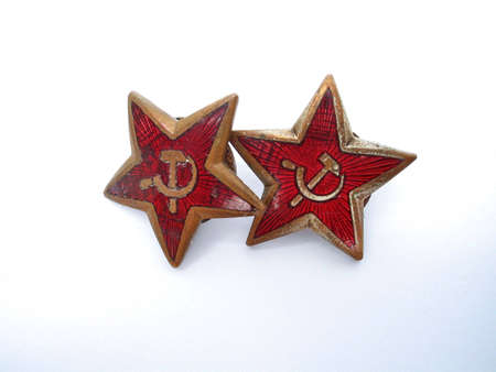 estrellas cinco puntas: dos de cinco estrellas se�al� rojo con el martillo y la hoz aislados en fondo blanco