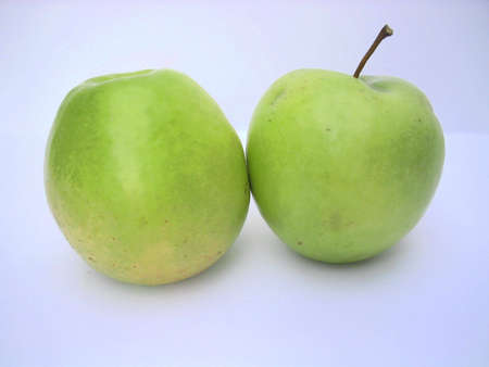 Two Isolated green apples Stock Photo - 2412568
