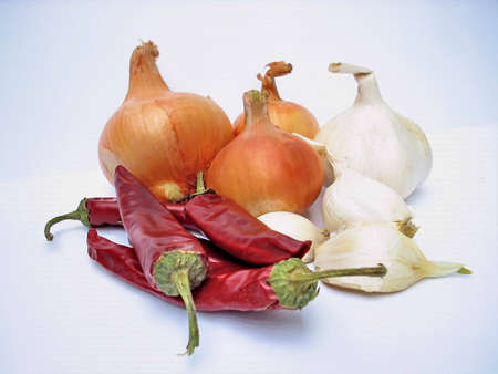 red peppers,onion and garlic photo