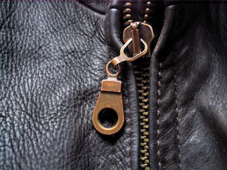 metal fastener: zipper on the leather jacket