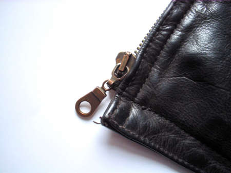 zipper on the leather jacket