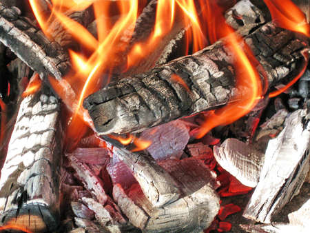 Scorched wood in flame
