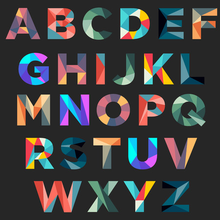 Colorful low poly typography