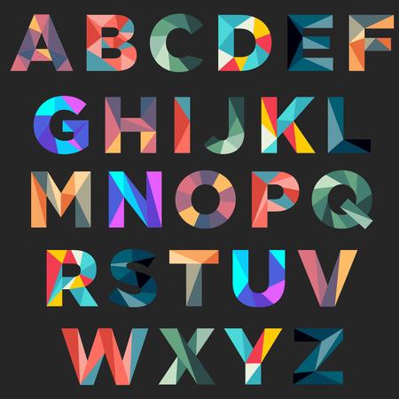 Typographie low poly colorée