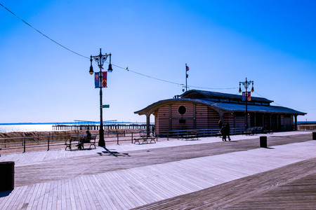 The boardwalk at Coney Island on a winter day Editorial