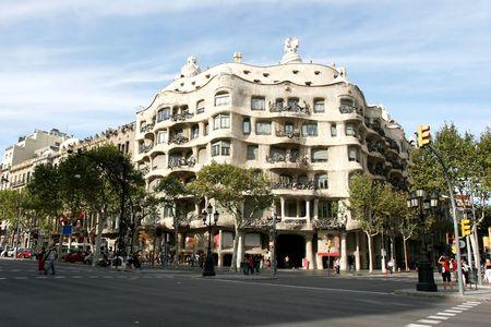 Famous Casa Mila by Antonio Gaudi in Barcelona Spain