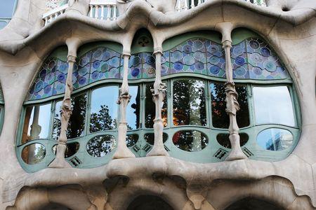 casa: Window of Casa Batllo by Antonio Gaudi in Barcelona Spain