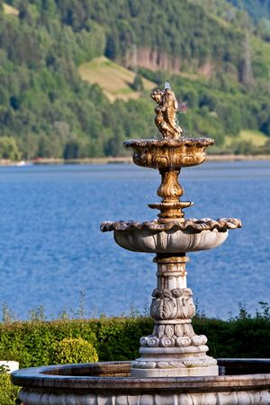 zell am see: Fountain by the lake Zell am See Austria
