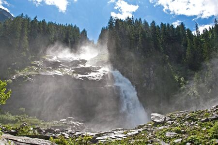 biggest: Krimml Waterfalls in Austria are Europes tallest and the fifth biggest in the world Stock Photo