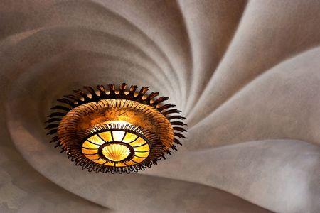 An unique lamp on the ceiling in Casa Batllo Barcelona Spain photo
