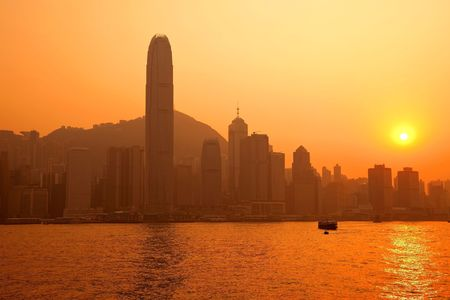 View Central Hong Kong and IFC by Sunset across from Victoria Harbor photo