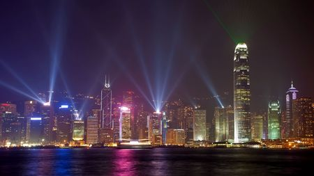 Symphony of lights in Hongkong China from Kowloon side across from Victor Harbor photo