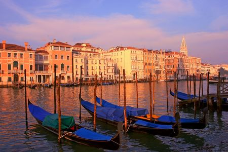 Grand canal of Venice Italy by sunset photo