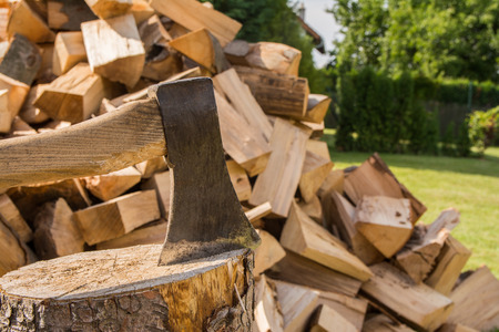 filings: Chopping wood on the block Stock Photo