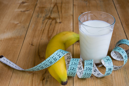 measuring cup: Measuring tape, milk and banana